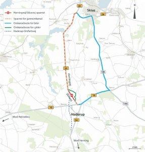 Rute 34 mellem Herning og Skive lukkes midlertidigt nord for Haderup